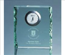 Engraved Glass Rectangle Desk Clock with Pearl Edge