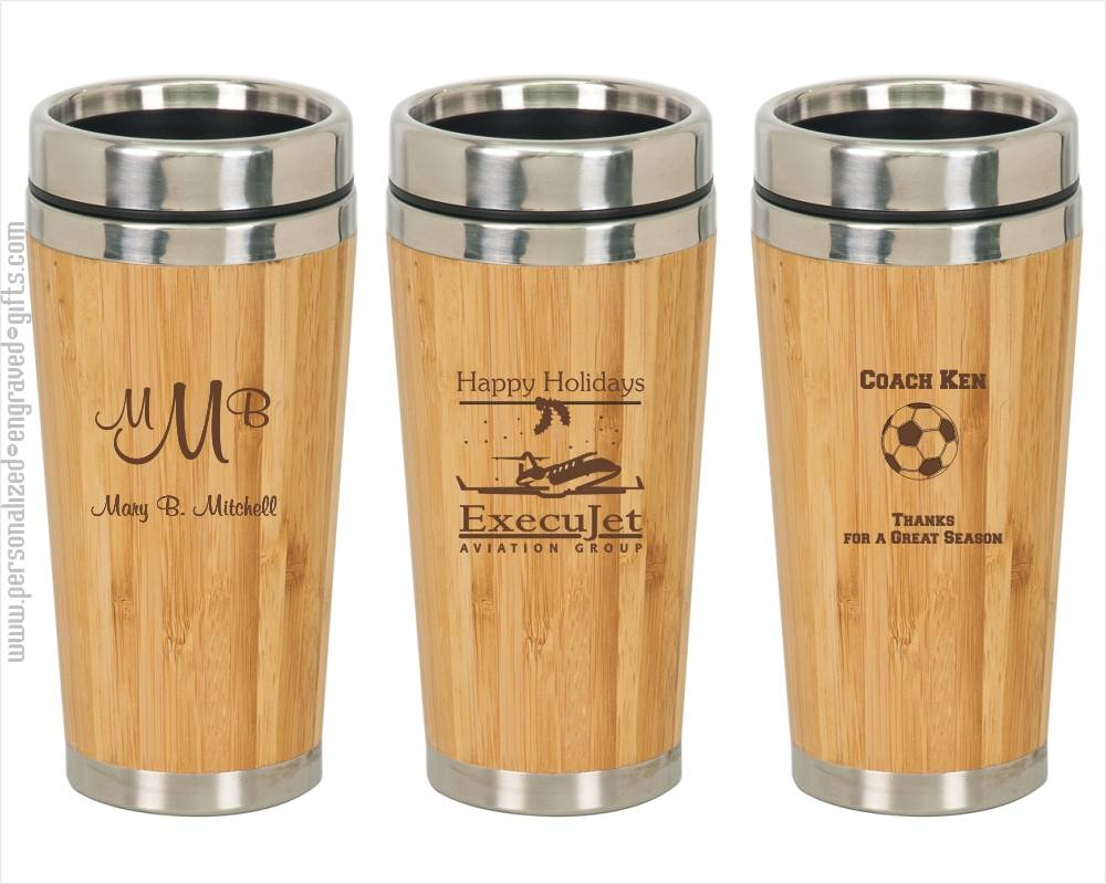 Laser Engraved Bamboo Travel Coffee Mug