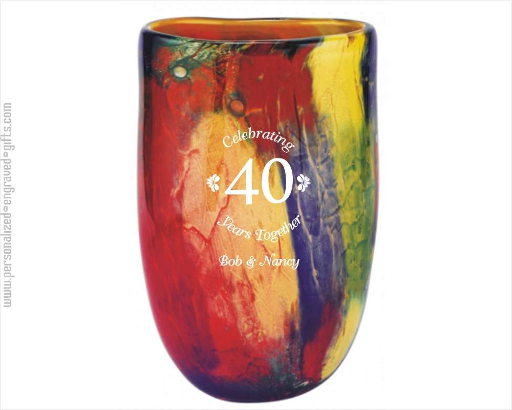 Personalized Phoenix Firestorm Oval Art Glass Vase