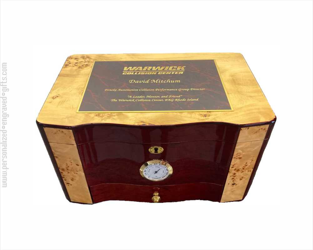 Personalized Birdseye Maple and Rosewood Humidor Amalfi