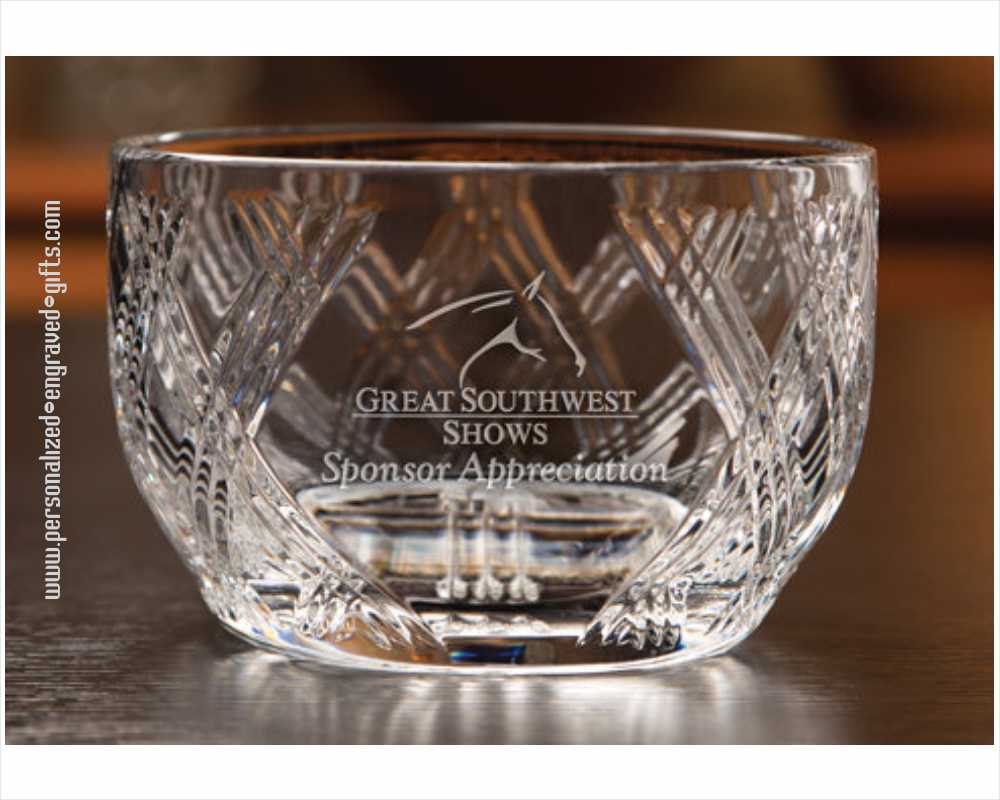 Criss Cross Crystal Personal Engraved Bowl - Acclaim
