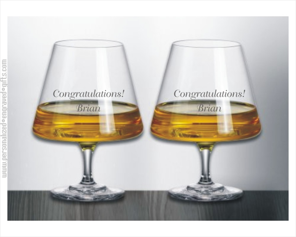 Engraved Urban Styled Crystal Brandy Snifters - Enzo