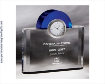 Crystal Clock with Blue Arch Deep Engraved with Best Wishes from the Department
