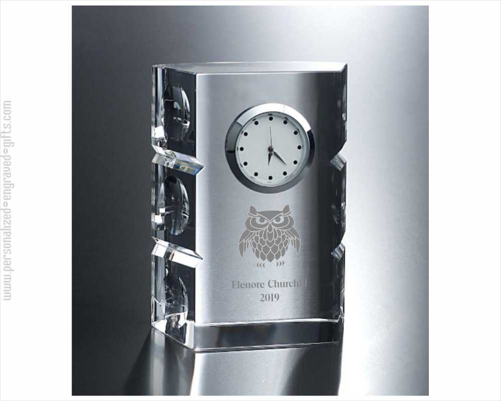 Engraved Crystal Clock with Circle Sides