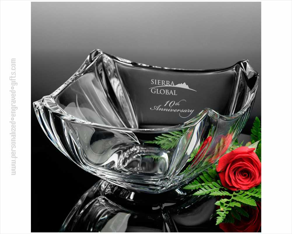 Personalized Crystal Contour Bowl