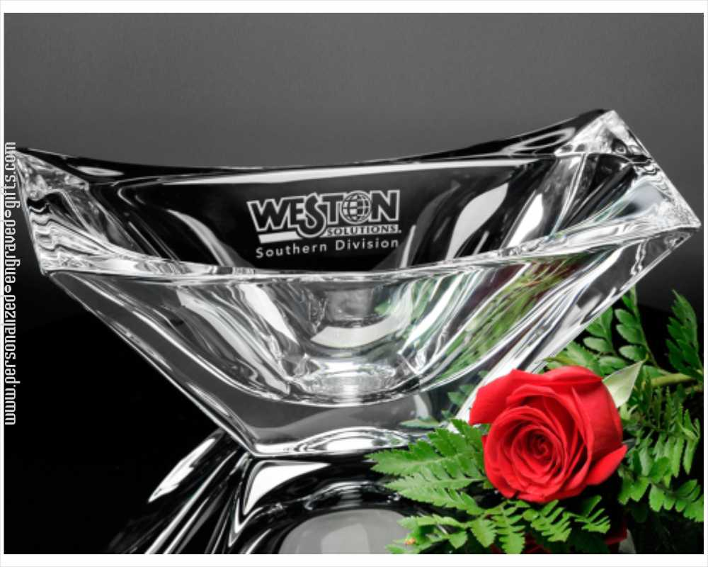 Rectangular Crystal Custom Engraved Image Bowl