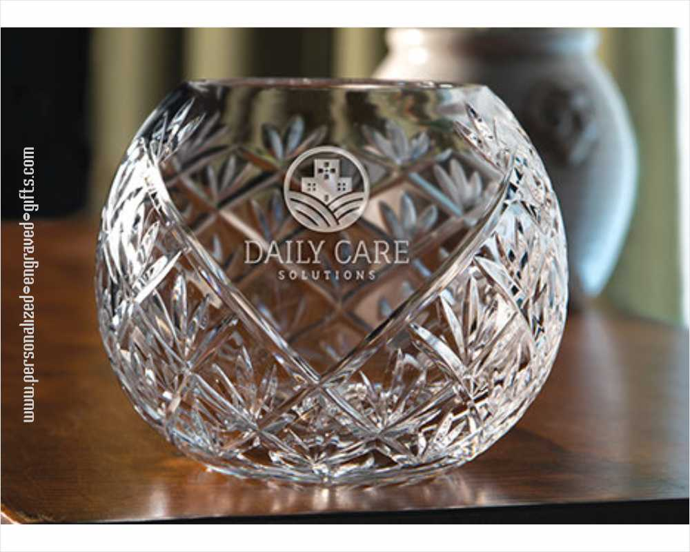 Personalized V Cut 24% Crystal Engraved Bowls - Ireland