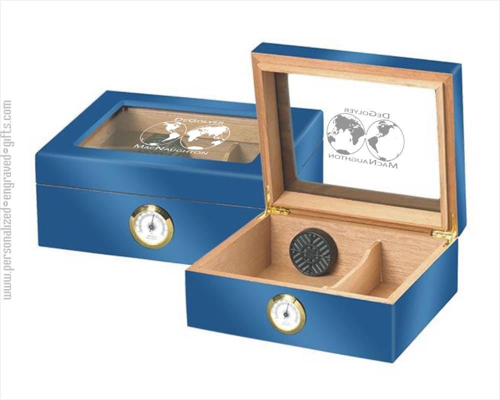 High Gloss Blue Humidor with Engraved Glass