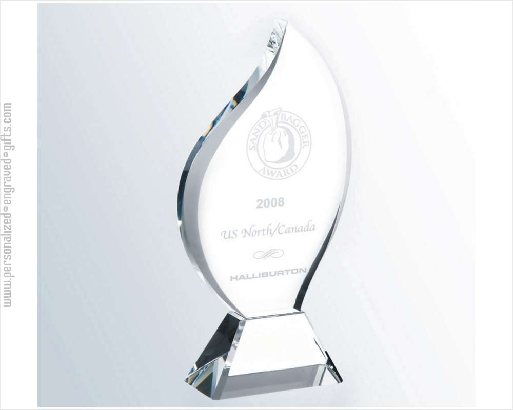 Clear Contemporary Crystal Flame Award