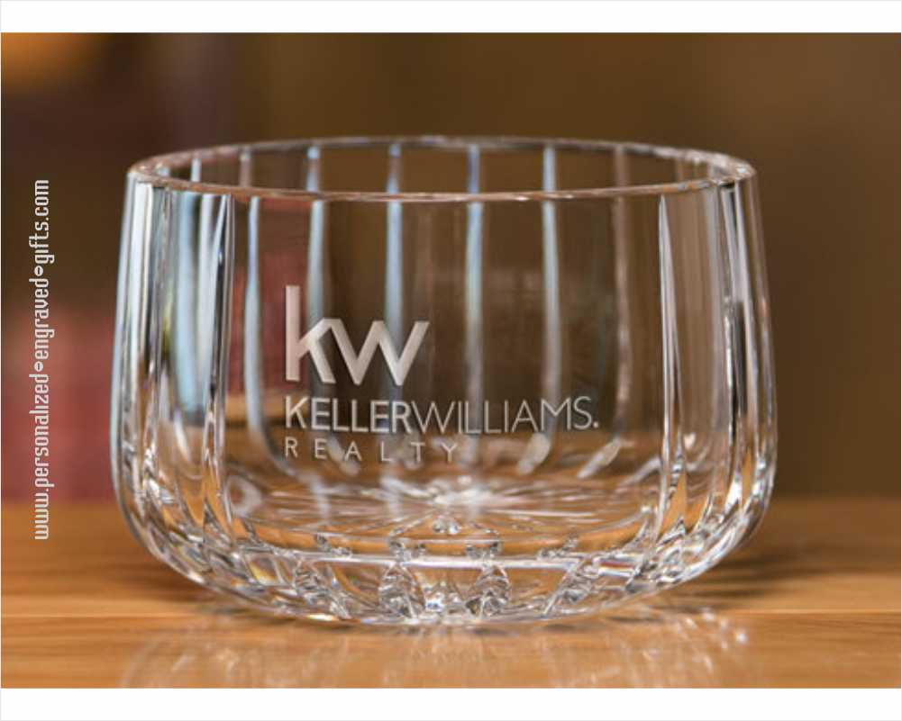 Deep Engraved Hand Blown Crystal Bowls - Contemporary