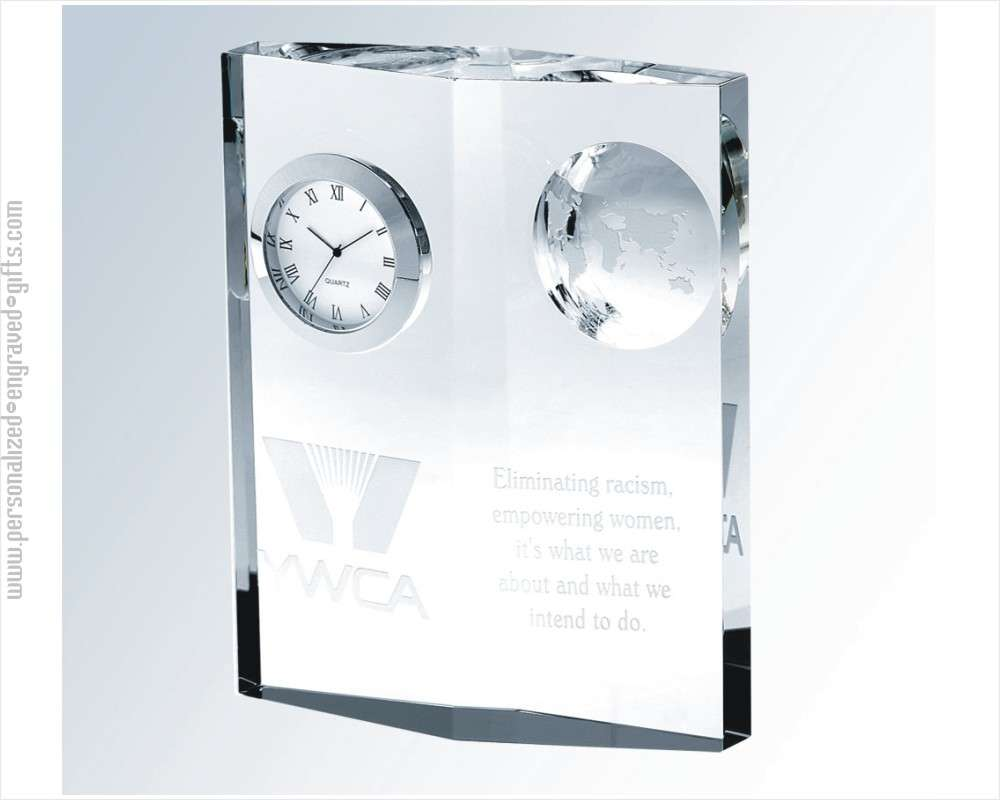 Personalized Crystal Globe Clock - Anna