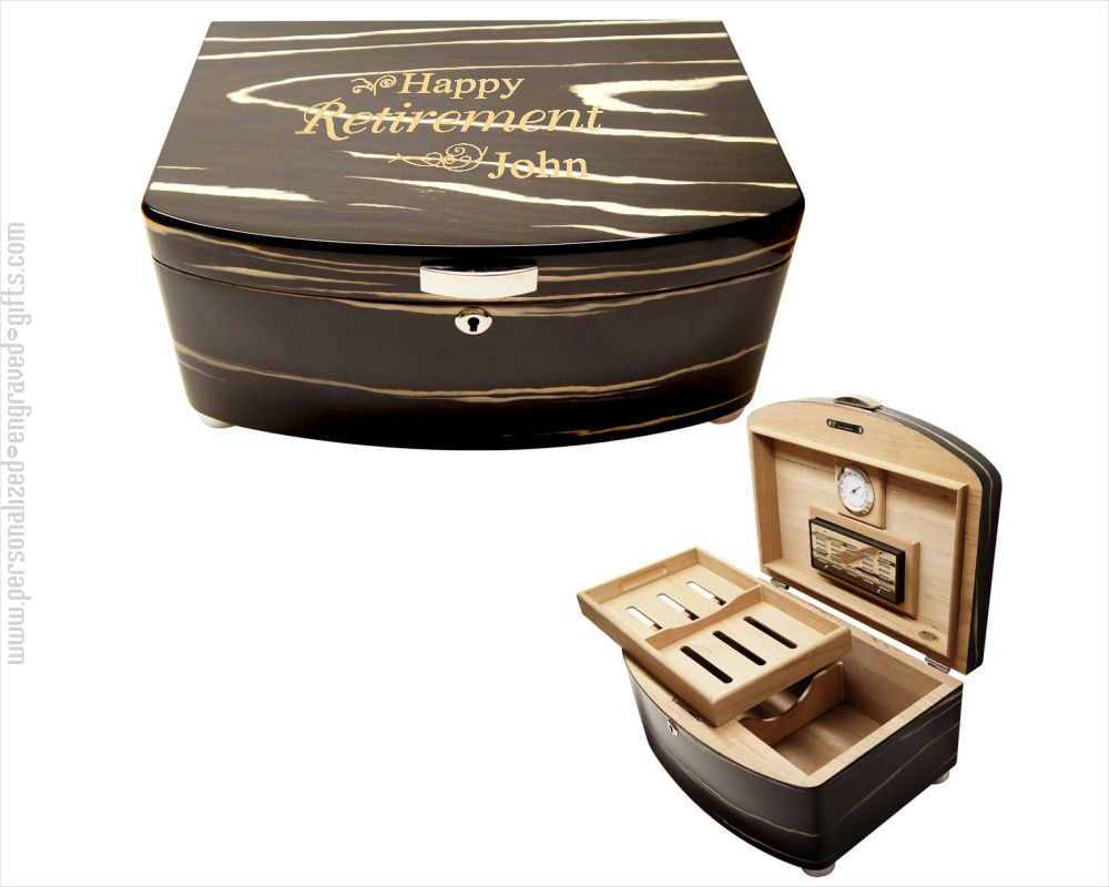 Engraved Black & White Humidor Oriental