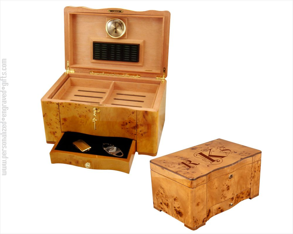 Personalized Engraved Maple Burl Humidor Perique