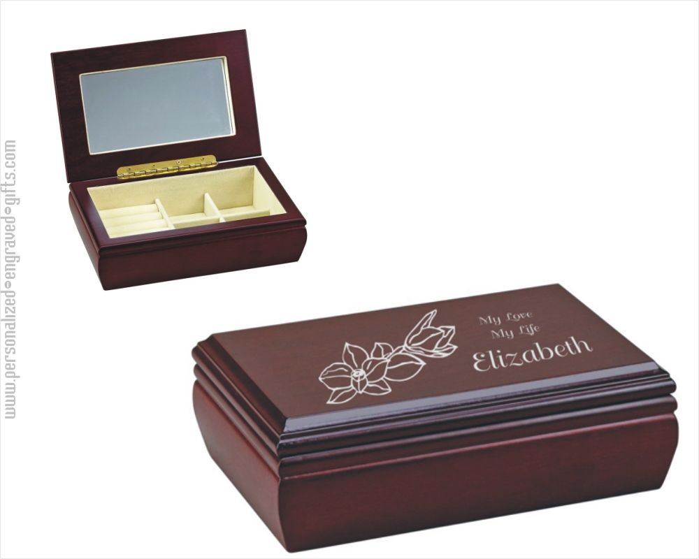 Engraved Wooden Jewelry Box Elise