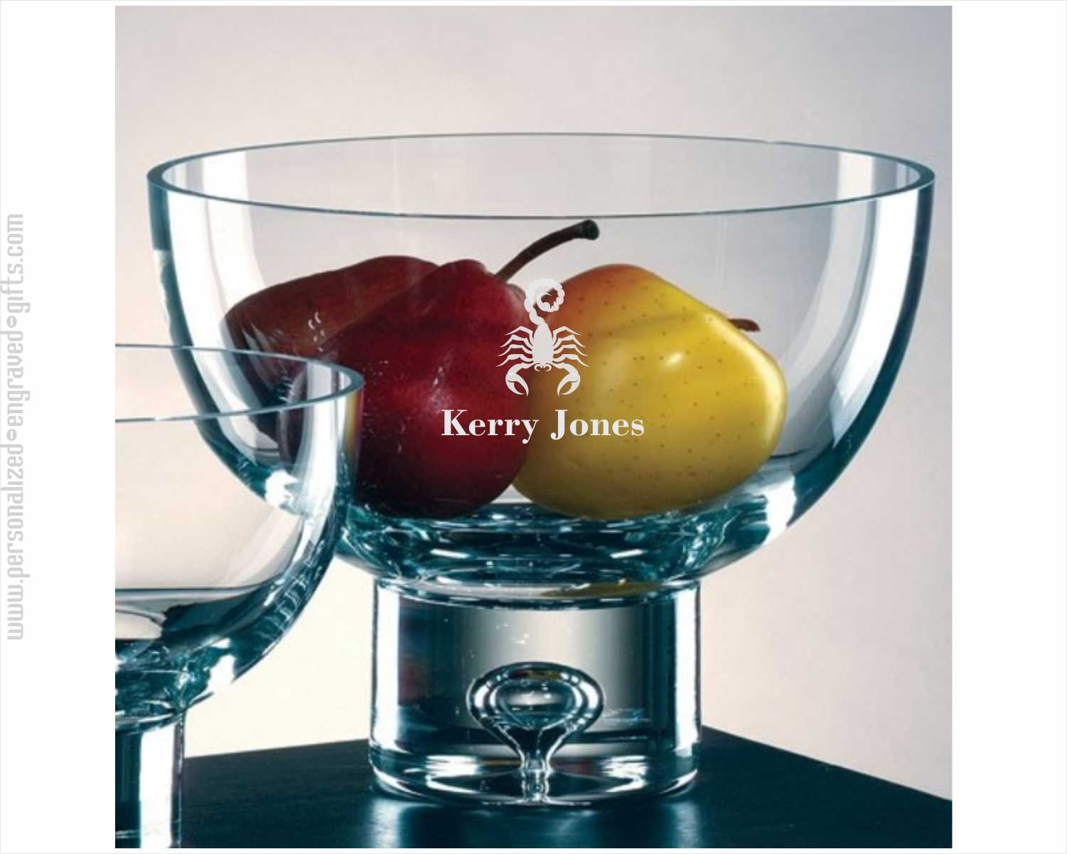 Playful Bubble Engraved Large Glass Pedestal Bowl
