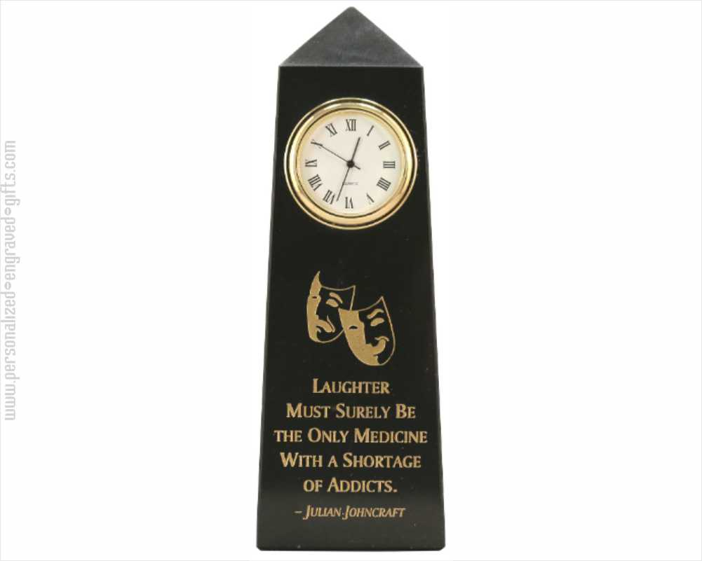 Engraved Obelisk Clock Jet Black Marble