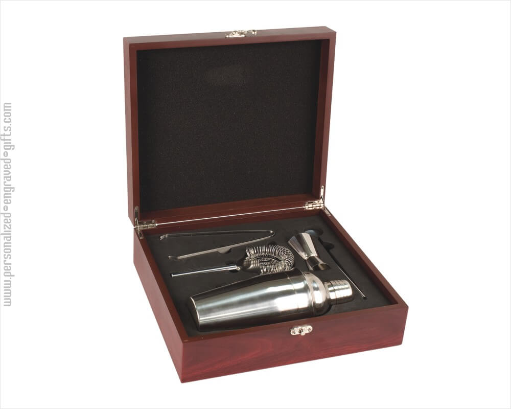 Engraved Martini Gift Set in Rosewood Finish Box