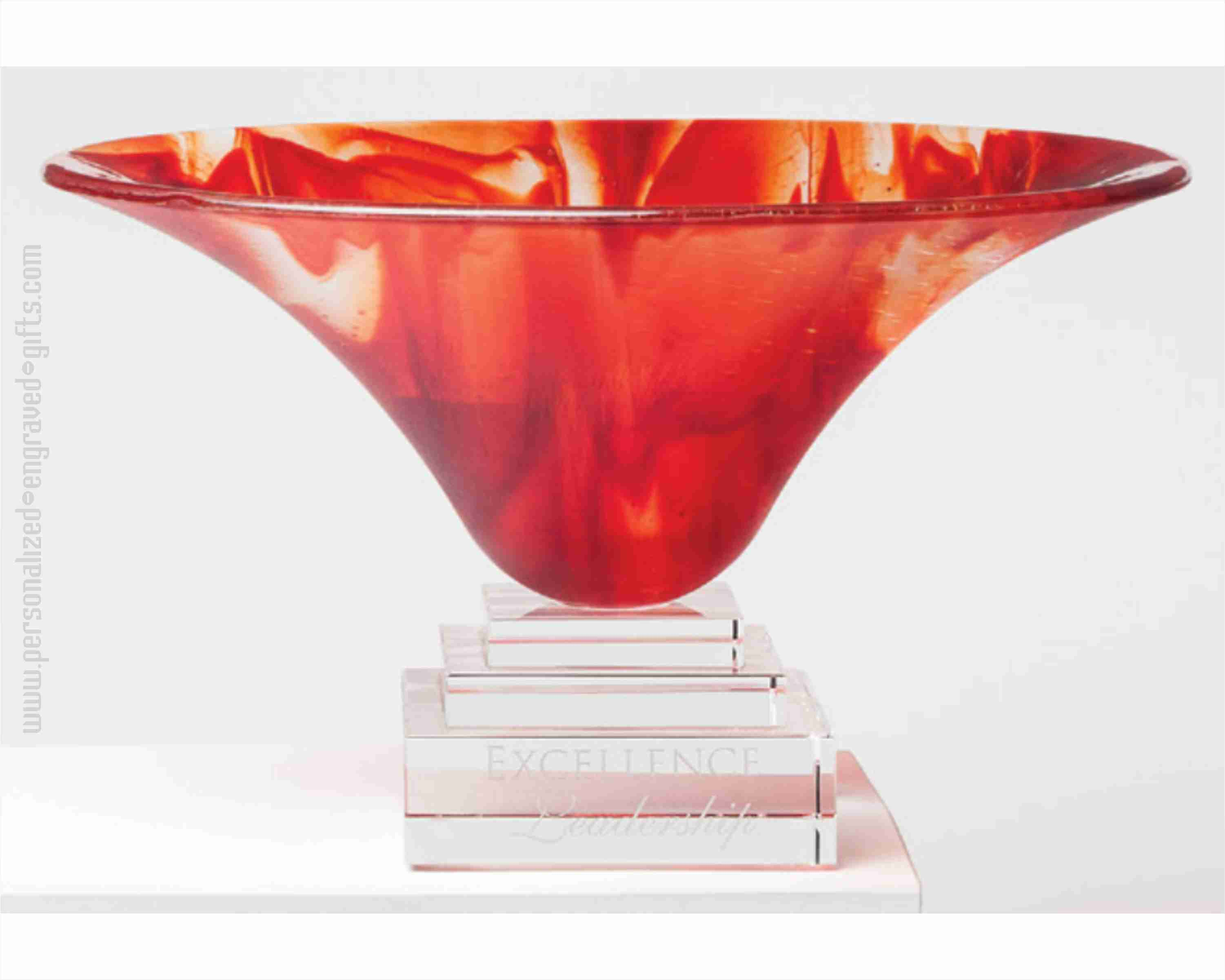 Personalized Orange Art Glass Presentation Bowl Firefly