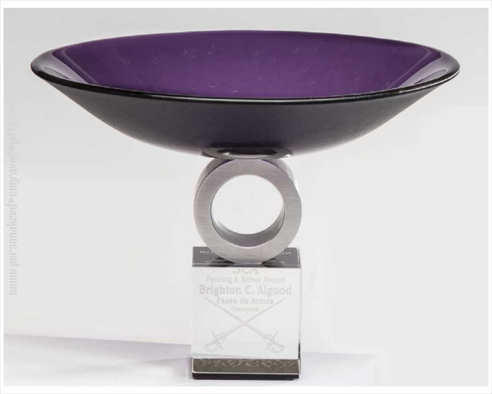Engraved Pedestal Purple Art Glass Award Bowl Maude