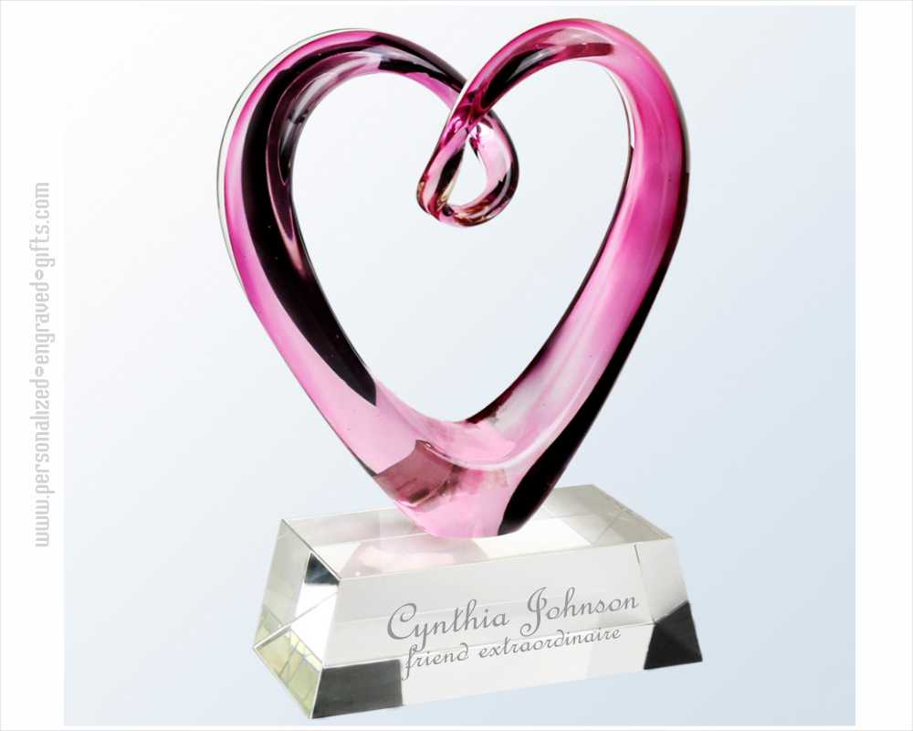 Engraved Pink Heart Art Glass Figure