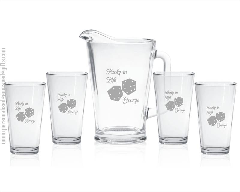 Custom Engraved Beer Pitcher with 4 Pint Glasses