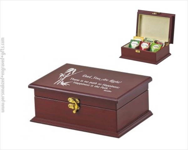 Personalized Rosewood Finished Wood Tea Chest  Bridgewater