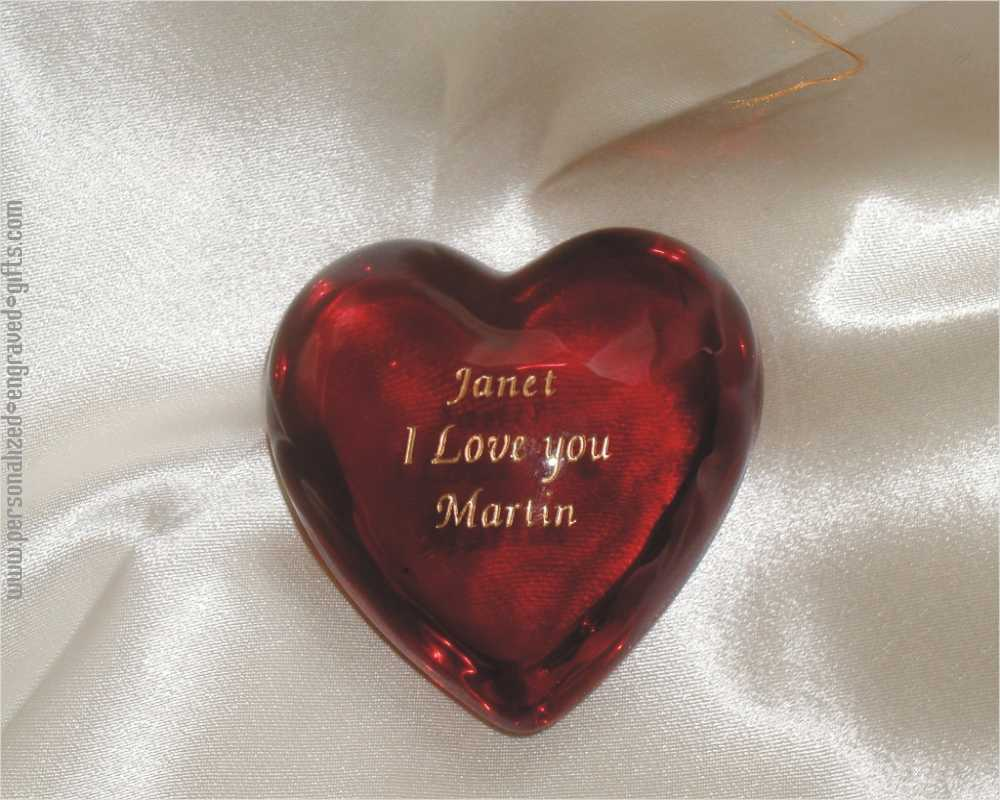 Ruby Red Engraved Glass Heart Paperweight