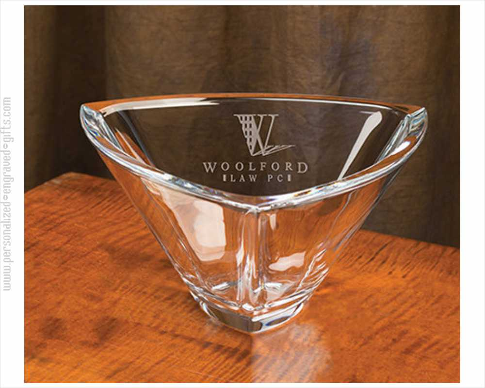 Triangle Deep Etched Crystal Bowl