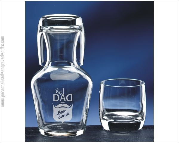 Personalized Water Carafe and Glass Engraved Just for Dad