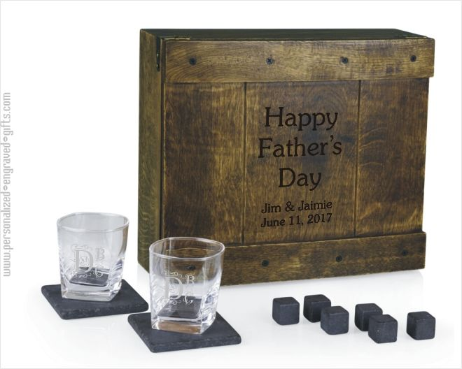 Laser Engraved Whiskey Glass and Coaster Gift Set