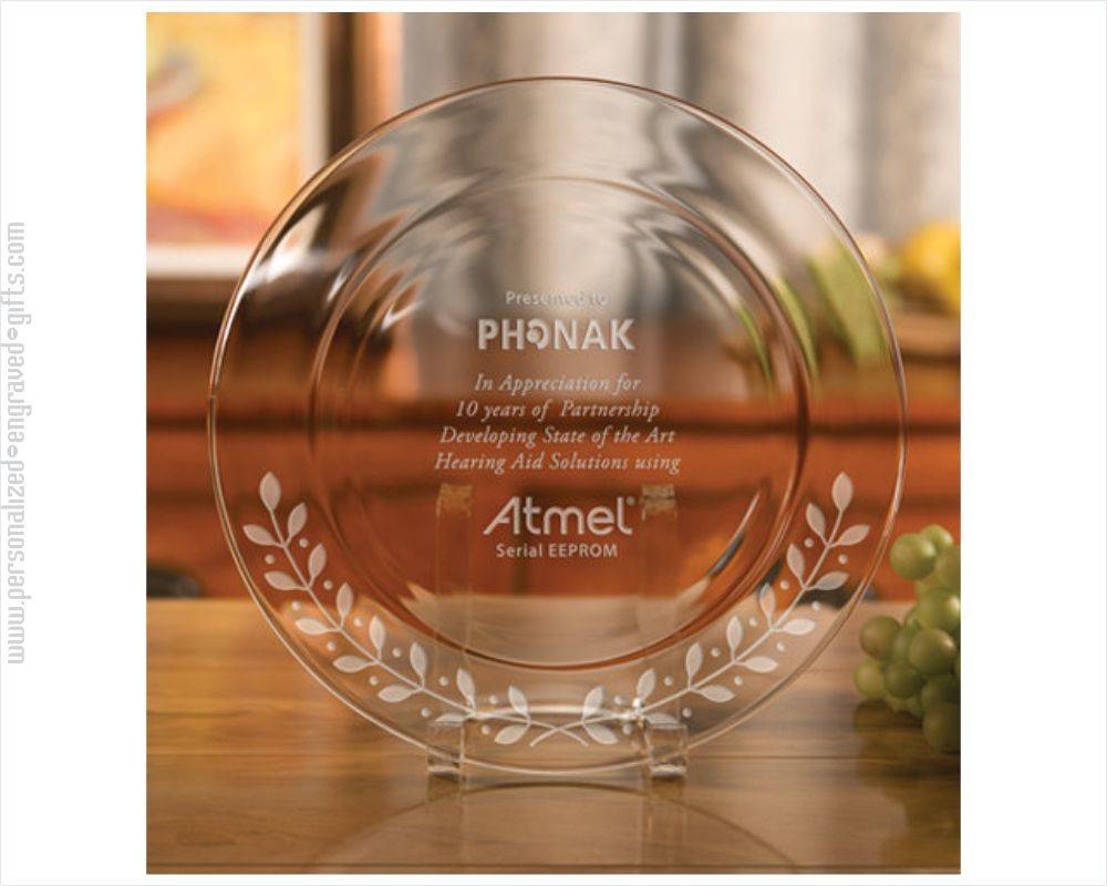 Personalized Glass Plate with Laurel Design on Rim
