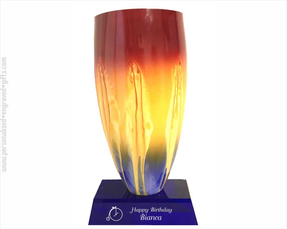 Personalized Lava Art Glass Vase on Blue Base