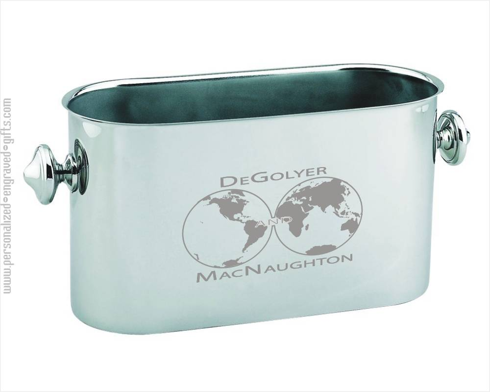 Personalized Engraved Stainless Steel Oblong Ice Bucket - Eva