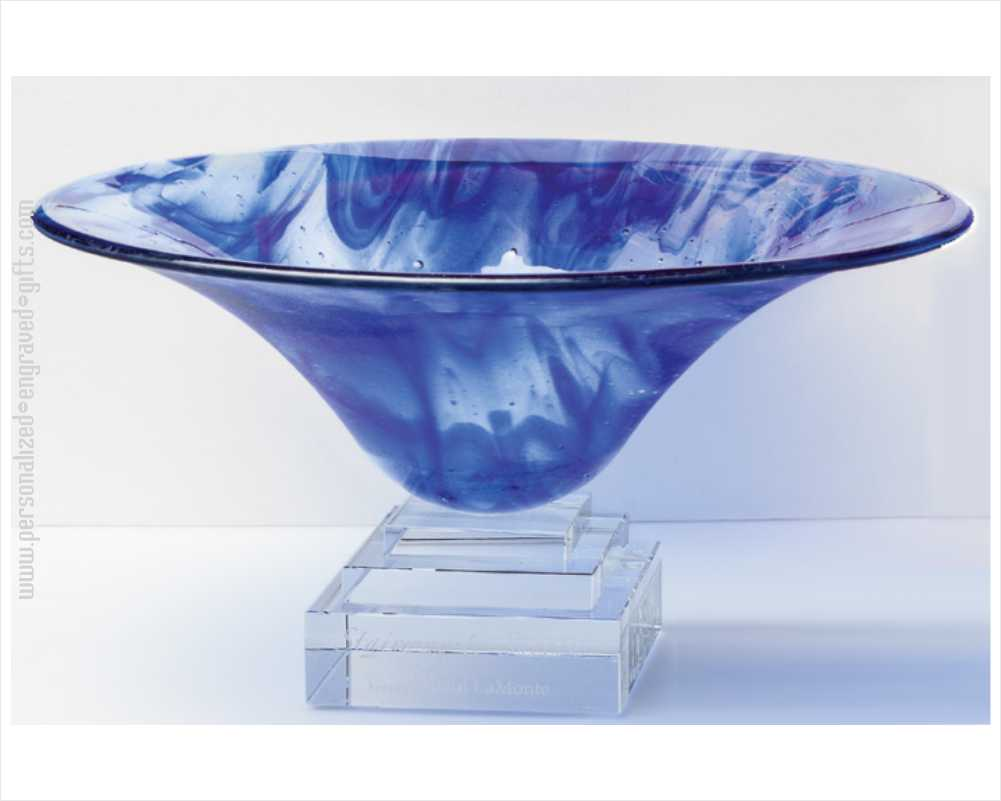 Engraved Blue Art Glass Presentation Bowl Darcy
