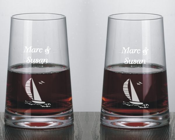 Modernist Stemless Engraved Red Wine Glasses