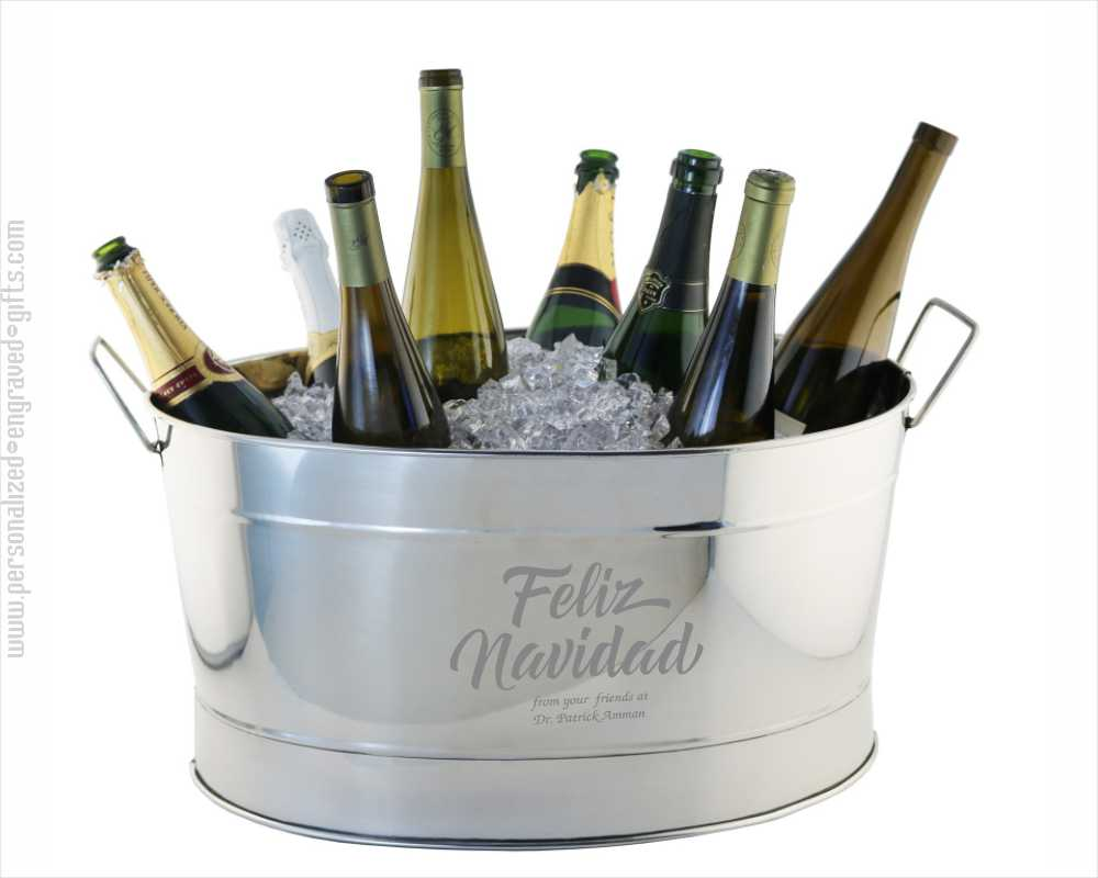 Personalized Stainless Steel Ice Bucket Old Timey