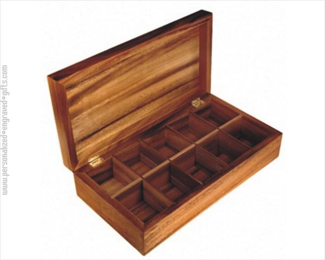 Engraved Large 10 Compartment Natural Wood Tea Box Earl Grey