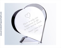 Optic Crystal 7 inch Engraved Keepsake Heart