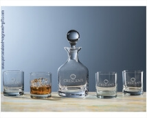 Personalized Crystal Whiskey Classico Decanter 4 Glass Set