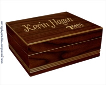 Engraved Rich Walnut Finished Wooden Humidor - Dan