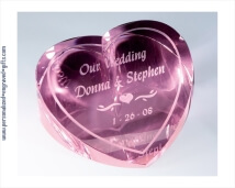 Limited Time Offer - Personalized Pink Crystal Heart Paperweight