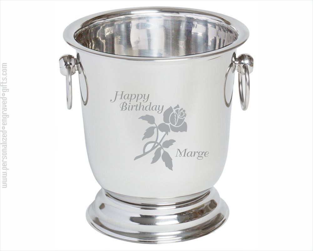 Polished Stainless Steel Ice Bucket Custom Engraved - The Empire