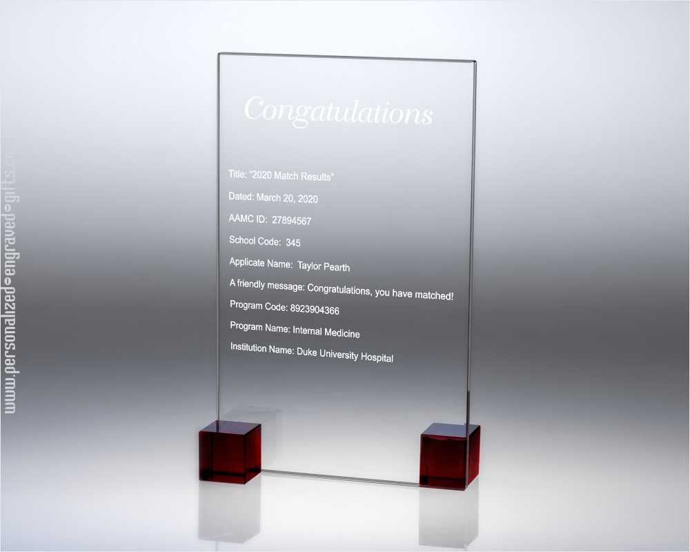Engraved Glass Plaque Beautifully Simple Cuboid