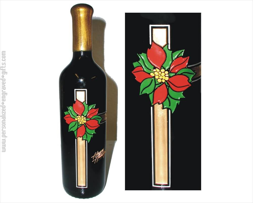 Holiday Poinsettias and Ribbons Deep Engraved Wine Bottle
