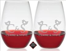 Personalized Riedel Shiraz Stemless Wine Glass Set