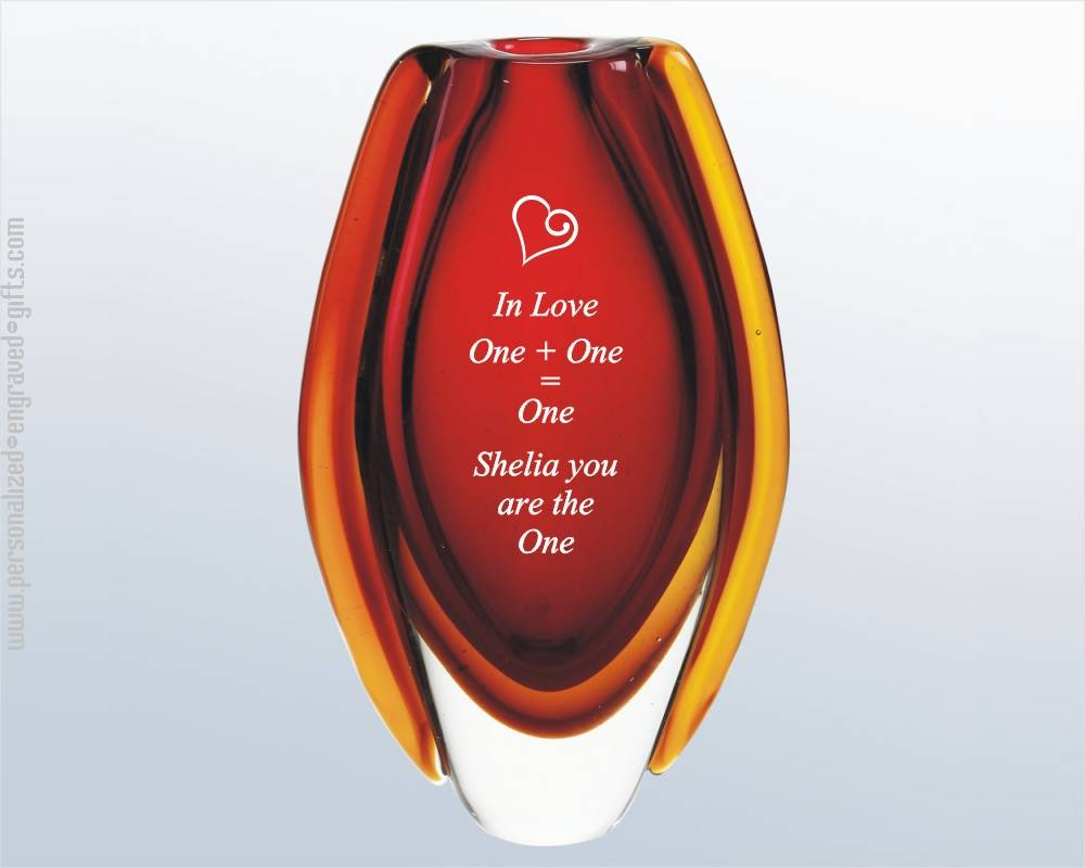 Romantic Red Art Glass Bud Vase