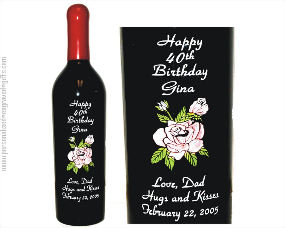 Personalized Wine Bottles Rose and Rose Bud