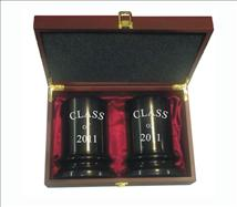 Heavy High Quality Marble Column Bookends in a Rosewood Gift Box Inscribed to Recognize Success