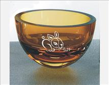 Small Amber Hued Engraved Glass Bowls - La Palma