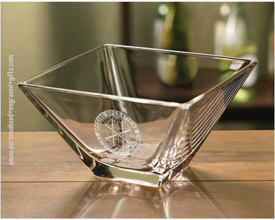 Square Glass Engraved Bowl - Quatro
